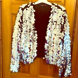 Plus size sequin crop jacket
